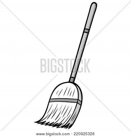 Broom Illustration - A vector cartoon illustration of a cleaning broom.