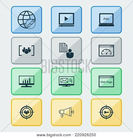 Advertising icons set with market research, media campaign, digital media and other loading speed elements. Isolated vector illustration advertising icons.