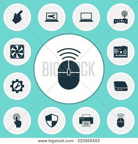 Device icons set with defense, wrench, pointer and other mainframe elements. Isolated vector illustration device icons.