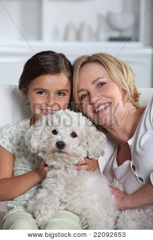 Mother, daughter and dog poster