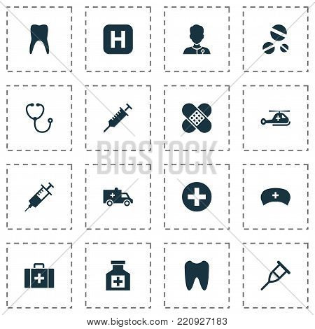 Medicine icons set with claw, copter, device and other peck elements. Isolated vector illustration medicine icons. poster