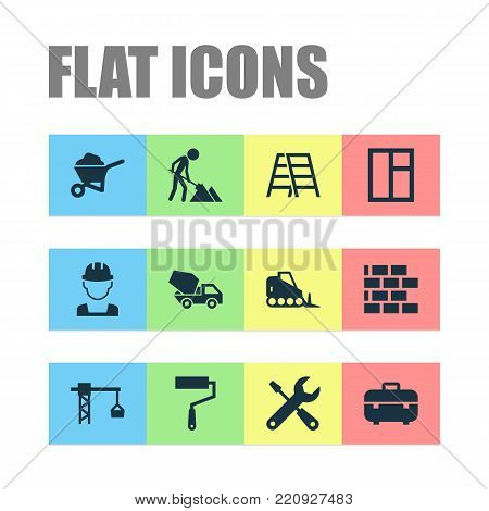 Construction icons set with cement vehicle, wall, lifting hook and other lifting hook elements. Isolated vector illustration construction icons.