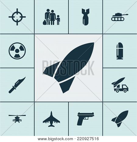 Combat icons set with cutter, weapons, panzer and other rocket elements. Isolated vector illustration combat icons.