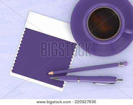 3d render of top view with ultra violet swatch card and stationery lying on wooden desk. Color of the year 2018.
