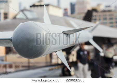 The missile air-air suspended under the wing of battle aircraft, close up
