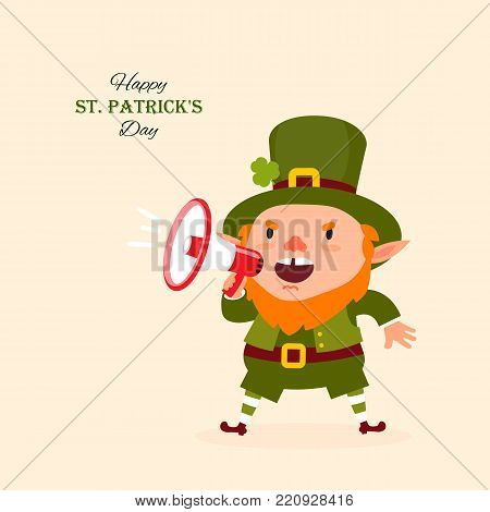 St.Patrick 's Day. Leprechaun, Traditional national character of Irish folklore. Isolated element of the set of leprechauns 13. Festive collection. Vector illustration.