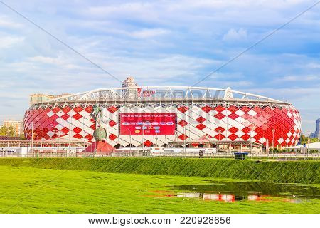 Moscow, Russia - July, 2017: View of the entrance of Otkrytie Arena. Home stadium of Spartak football team. FIFA world cup and confederations cup stadium.