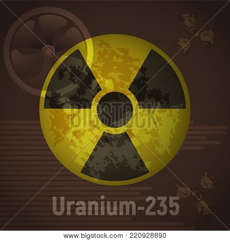 Sign of radiation. Uranium 235. Brown abstract background. Vector illustration. Nuclear pollution.