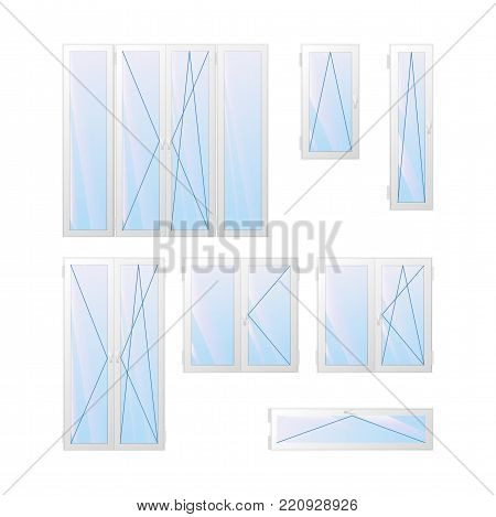 Windows and doors charts. View from the inside. Vector illustration.