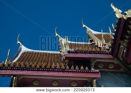 BANGKOK , THAILAND - DECEMBER 19, 2017 : Gable apex of Wat Benchamabophit, One of Bangkok's most beautiful temples is also known as