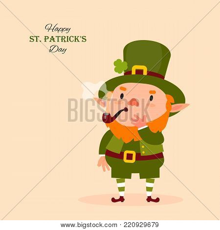 St.Patrick 's Day. Leprechaun smokes a pipe. Traditional national character of Irish folklore. Isolated element of the set of leprechauns 14. Festive collection. Vector illustration
