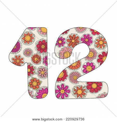 Zen coloring book for adults number twelve. Figure 12 tangle pattern. Floral ornament vector illustration. Birthday.