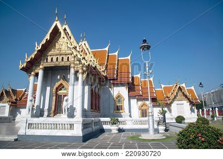 BANGKOK,THAILAND-DECEMBER 19, 2017: One of Bangkok's most beautiful temples is the Wat Benchamabophit, also known as