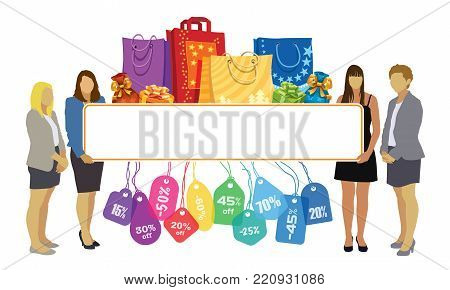 Group of girls holding a big blank banner with colorful price tags, shopping bags and gifts