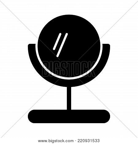 Mirror vector icon. Black and white table make-up mirror illustration. Solid linear beauty icon. eps 10