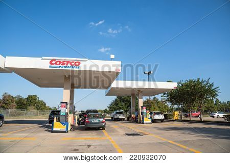 Costco Gas Station With Customers Refueling