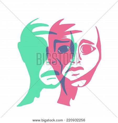 Splitpersonality. The conflict of consciousness. Schizophrenia is a vector illustration.