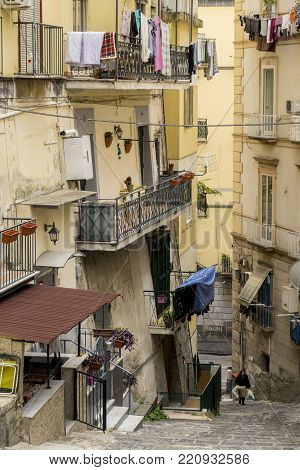 Napoli, Italy - Januery 4Th, 2018: View Of Naples Street