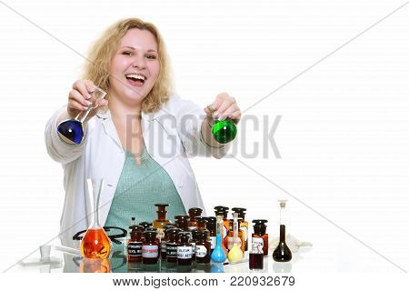 chemist woman or girl student or female laboratory assistant or scientific researcher with chemical glassware test flask. Experiment, research in progress, isolated on white background