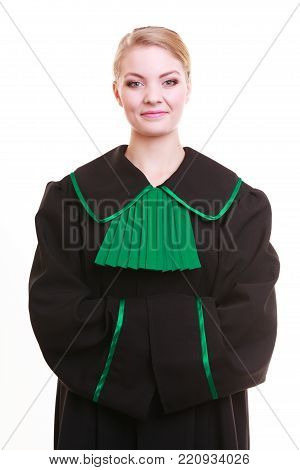 Law court or justice concept. Young woman lawyer attorney wearing classic polish (Poland) black green gown isolated on white background