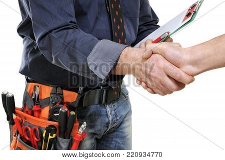 Elegant electrician technician shaking hands isolated on white background.