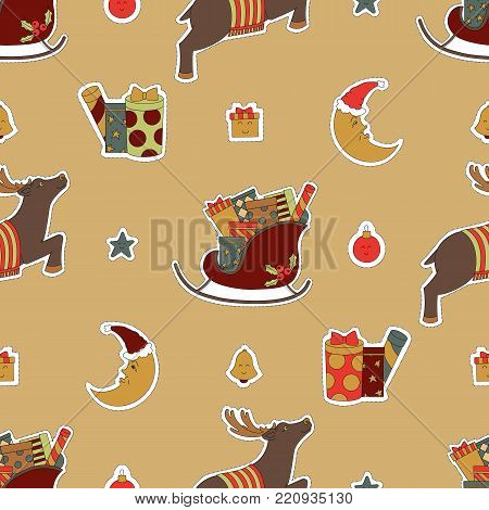 Merry Christmas cute design. Gifts in a sleigh, presents, reindeer and moon vector illustration. Seamless pattern background.