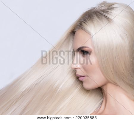 Healthy Platinum Blonde close up pattern shot. Professional hair care. poster