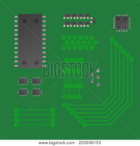 Micro chip collection. Chipset. Green vector illustration.