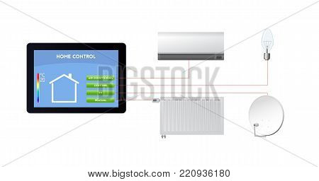 Control your smart home. Technological innovations vector illustration. Air conditioning, lighting, television, heating.