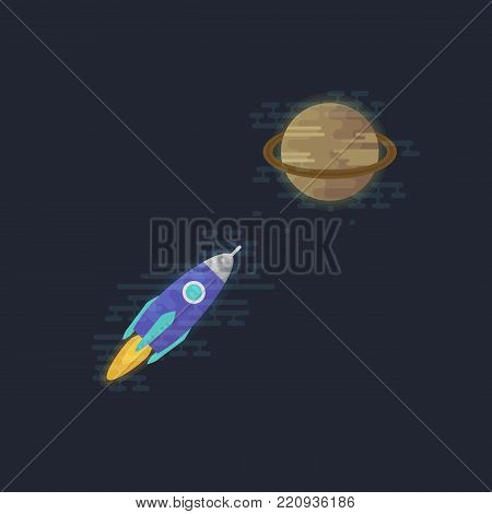 Spacecraft flying to the planet Saturn. Shuttle vector illustration. Flat icons.