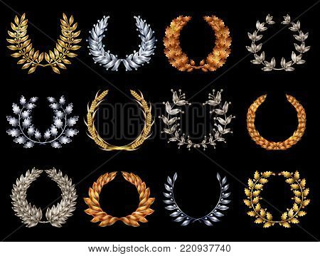 Premium elegant wreathes set in gold silver bronze colors consists of different branches isolated vector illustration