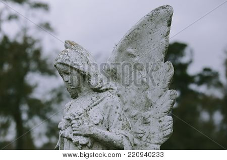 Cemetery statue, female angel with wings spread, looking down, gray sky.
