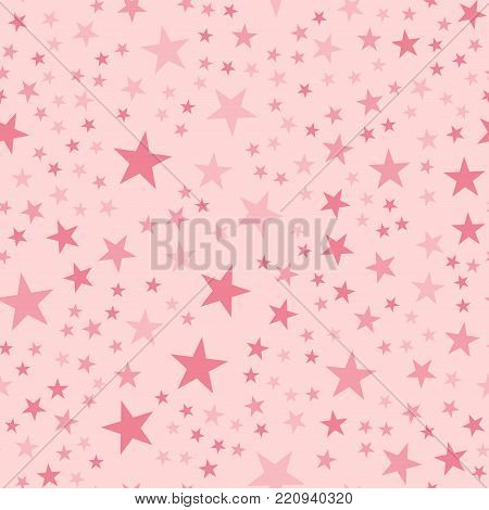 Pink Stars Seamless Pattern On Light Pink Background. Bewitching Endless Random Scattered Pink Stars