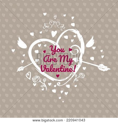 Greeting card design for valentines day. Dark version. Single side greeting card illustration. Elegant hand drawn heart with Cupid wings and arrows on dark background with little hearts.