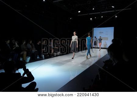 ST. PETERSBURG, RUSSIA - DECEMBER 5, 2015: Collection of the brand Jana Segetti at the fashion show during St. Petersburg Fashion Week Overview. The event sums up the year