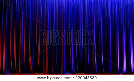 Dark empty stage with rich blue velvet curtain. 3d illustration