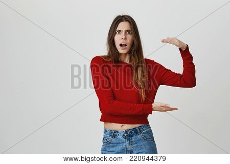 It's so big. Close up isolated portrait of funny good-looking young woman with long brown hair in red sweater and denim jeans gesticulating with shocked face expression. Copy space