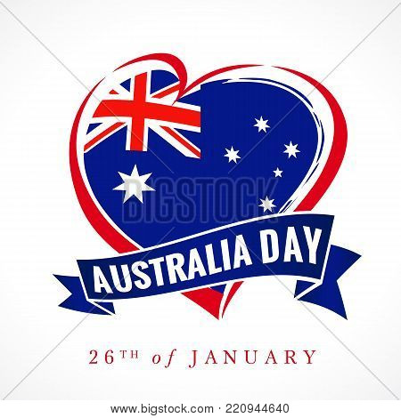 Australia day, 26 of January, heart emblem colored. Flag of Australia with heart shape and lettering Australia Day on ribbon. Vector illustration