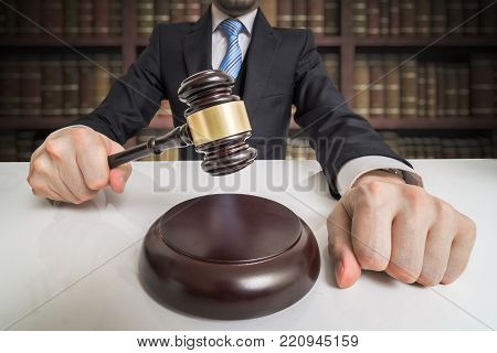 Justice Concept. Lawyer Is Hitting With Gavel.