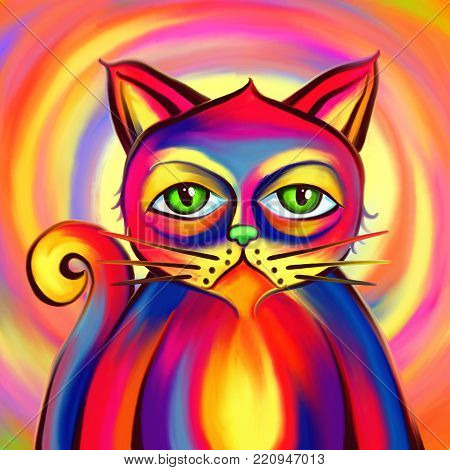 A digitally painted vibrant and colorful cat portrait with a bored grumpy expression.