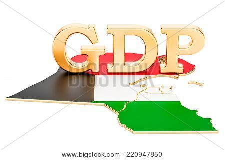 gross domestic product GDP of Kuwait concept, 3D rendering isolated on white background