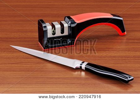 Knife with knife sharpener on the wooden table. 3D rendering