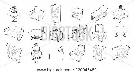Furniture icon set. Outline set of furniture vector icons for web design isolated on white background