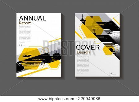 layout Hexagon yellow abstract and green background modern cover design modern book cover Brochure cover  template,annual report, magazine and flyer Vector a4