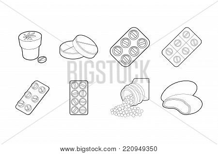 Pills icon set. Outline set of pills vector icons for web design isolated on white background