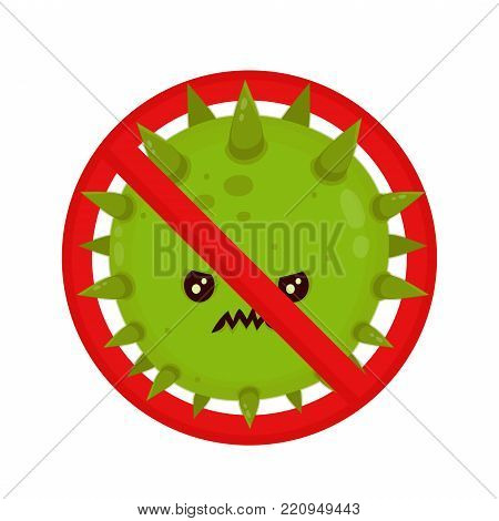 Angry bacterium in prohibition sign. Evil bad fly germ virus infection,micro bacteria.Vector modern flat style cartoon character illustration.Isolated on white background.Microbe, Pathogen