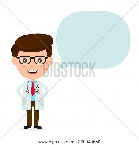 Cute funny smiling doctor with speaking bubble.Healthcare,medical,doctor concept. Vector flat cartoon character icon design. Isolated on white background