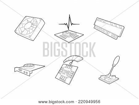 Pc parts icon set. Outline set of pc parts vector icons for web design isolated on white background