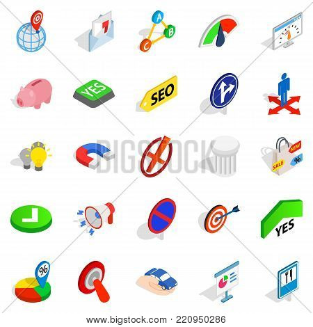 Decision icons set. Isometric set of 25 decision vector icons for web isolated on white background