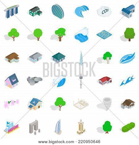 Landscape element icons set. Isometric style of 36 landscape element vector icons for web isolated on white background